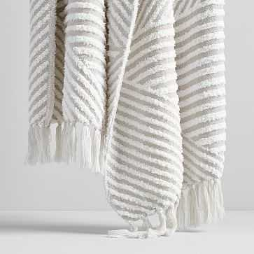 "Chenille Boucle Throw, Stone White, 50""x60"" - West Elm"