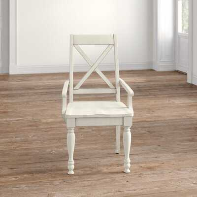 Eminence Cross Back Arm Chair in White - Wayfair