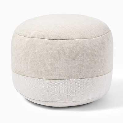 """Cotton Canvas Round Pouf, 22""""x22""""x13"""", Stone - West Elm"""