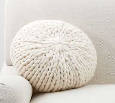"""Cozy Knit Round Pillow, 15"""", Ivory - Pottery Barn"""