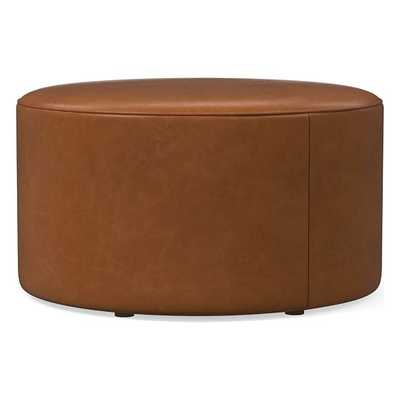Isla Large Ottoman, Poly, Ludlow Leather, Mace, Concealed Supports - West Elm