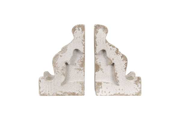 Distressed White Corbel Shaped Bookends (Set of 2 Pieces) - Nomad Home