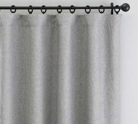 "Custom Classic Belgian Flax Linen Rod Pocket Blackout Curtain, Chambray Gray, 180 x 89"" - Pottery Barn"