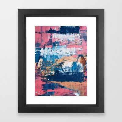 Rock And Roll Soul: A Vibrant Abstract Contemporary Painting By Alyssa Hamilton Art In Pinks And Blues Framed Art Print by Alyssa Hamilton Art - Vector Black - X-Small-10x12 - Society6