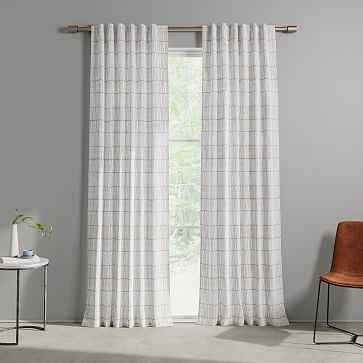 "Line Lattice Curtain, Stone Gray Stone White, Set of 2, 48""x84"" - West Elm"