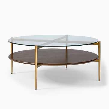 Art Display Coffee Table, XL Round, Wood, Metal, Glass - West Elm