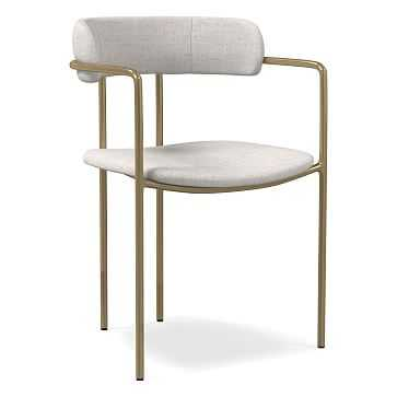 Lenox Dining Chair, Performance Coastal Linen, Stone White, Blackened Brass - West Elm