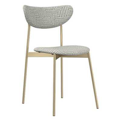 Modern Petal Fully Upholstered Dining Chair, Traveling Dot, Frost Gray, Light Bronze - West Elm