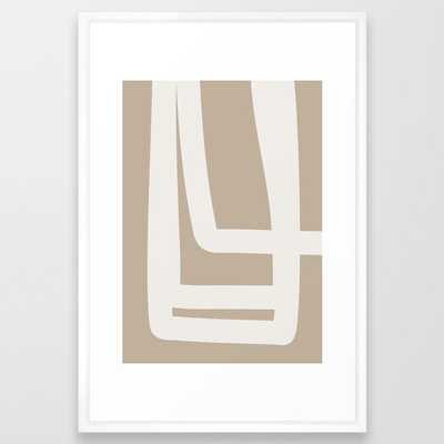 Neutral Abstract 5a Framed Art Print by The Old Art Studio - Vector White - LARGE (Gallery)-26x38 - Society6