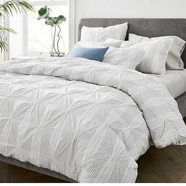 Pintuck Stripe Duvet, Full/Queen, Stone White - West Elm