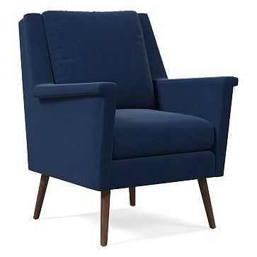 Carlo Mid-Century Chair, Poly, Performance Velvet, Ink Blue, Pecan - West Elm