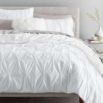 Ft New Organic Cotton Pintuck Duvet & Standard Sham, White, Twin - West Elm