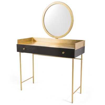 Juliet Hollywood Regency Gold Mango Wood Iron Legs Vanity Desk - Kathy Kuo Home