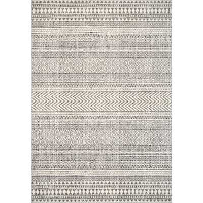 nuLOOM Catherine Henna Tribal Bands Gray 8 ft. x 10 ft. Area Rug - Home Depot