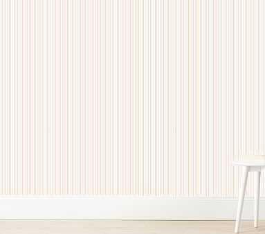 Pinstripe Wallshoppe Wallpaper, Pink - Pottery Barn Kids