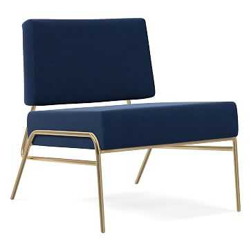 Wire Frame Upholstered Slipper Chair, Poly, Performance Velvet, Ink Blue, Antique Brass - West Elm
