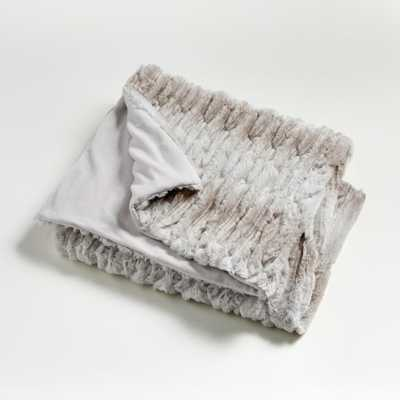 Taupe Luxe Faux Fur Throw - Crate and Barrel