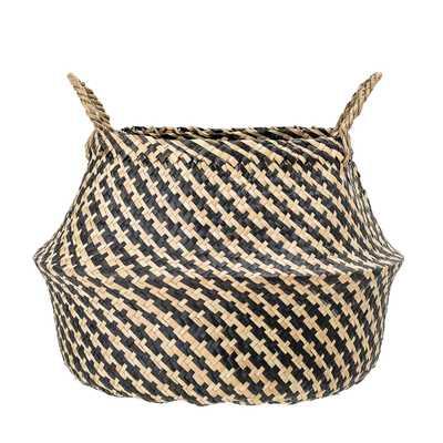 Black & Beige Woven Seagrass Basket with Handles - Moss & Wilder