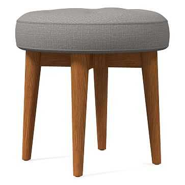 Mid-Century Upholstered Stool, Poly, Yarn Dyed Linen Weave, Platinum, Pecan - West Elm