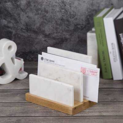 Almanor Natural Marble and Mango Wood Letter and Document Sorter Paper Organizer - Wayfair