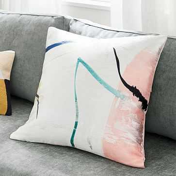 "Watercolor Fragments Brocade Pillow Cover, 20""x20"", Stone White - West Elm"
