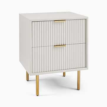 Quinn Lacquer Storage Nightstand, Haze, Antique Brass, Set of 2 - West Elm