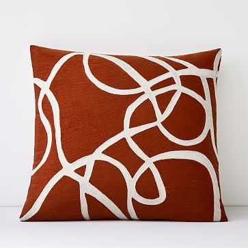 """Crewel Rope Pillow Cover, Copper, 24""""x24"""" - West Elm"""