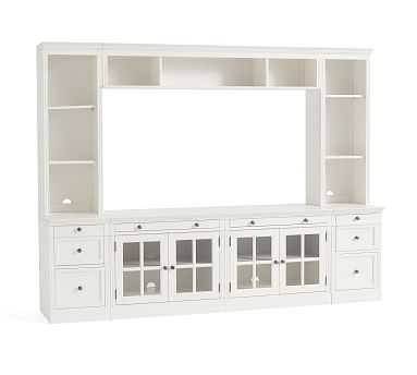 """Livingston 7-Piece Entertainment Center with Drawers, Montauk White, 105"""" - Pottery Barn"""