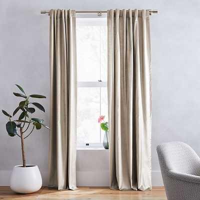 Luster Velvet Curtain Simple Taupe 48x96 - West Elm
