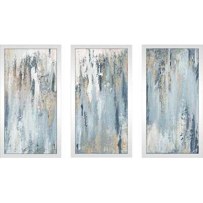 'Blue Illusion' - 3 Piece Picture Frame Painting Print Set on Plastic - Wayfair