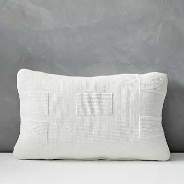 "Outdoor Tufted Pillow, 12""x21"", Stone White - West Elm"