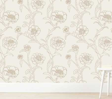 Tempaper Peonies Wallpaper, Gold Leaf - Pottery Barn Kids