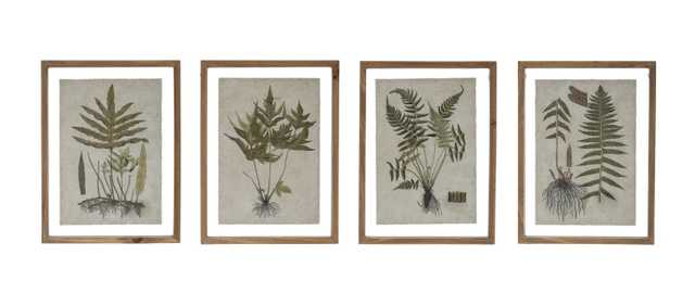 Botanical Print on Textured Material Wall Décor with Wood Frame (Set of 4 Styles) - Nomad Home