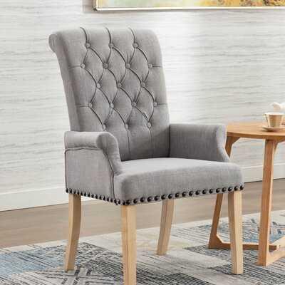 Amdad Tufted Linen Upholstered Arm Chair - Wayfair