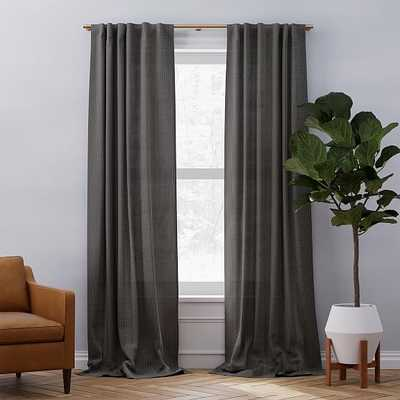 "Belgian Linen Graduated Stripe Curtain, Pewter + Stone White, 48""x84"" - West Elm"