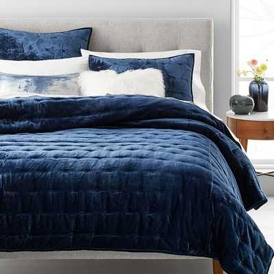 Lush Velvet Tack Stitch Quilt & Standard Sham, Midnight, Full/Queen - West Elm