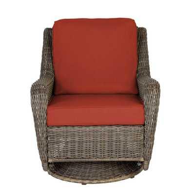 Hampton Bay Cambridge Gray Wicker Outdoor Patio Swivel Rocking Chair with CushionGuard Quarry Red Cushions - Home Depot