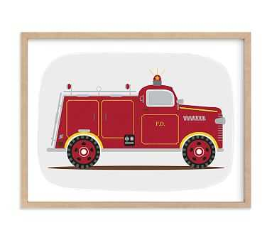 Minted(R) Red Fire Engine #1 Wall Art by Rebecca Marchese; 18x24, Natural - Pottery Barn Kids