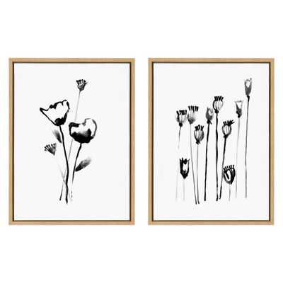"""Kate and Laurel Sylvie """"Wildflowers and Seedpods """" by Teju Reval Framed Canvas Wall Art Set, Natural - Home Depot"""
