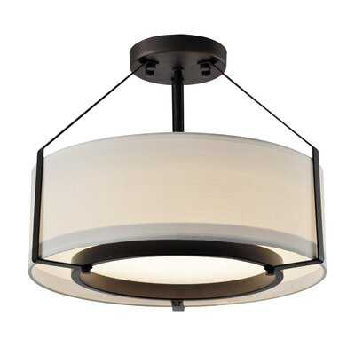 Semi-Flush Lights 1 - Light 15'' Shaded Drum LED Semi Flush Mount - Wayfair