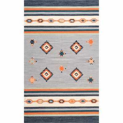 Branham Hand Loomed Cotton Gray/Orange Area Rug - Wayfair