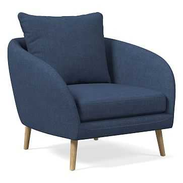 Hanna Chair, Performance Yarn Dyed Linen Weave, French Blue, Almond - West Elm