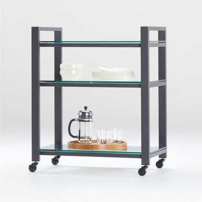 Pilsen Graphite Cart with Glass Shelves - Crate and Barrel