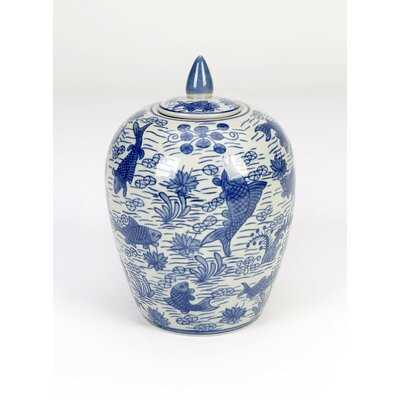 Blue 12'' Porcelain Ginger Jar - Wayfair