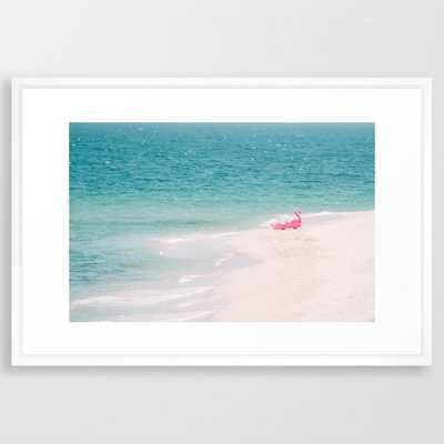 Pink Flamingo Beach Framed Art Print by Ingrid Beddoes Photography - Vector White - LARGE (Gallery)-26x38 - Society6