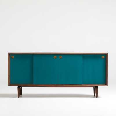 Brondby Walnut and Teal Door Credenza - Crate and Barrel