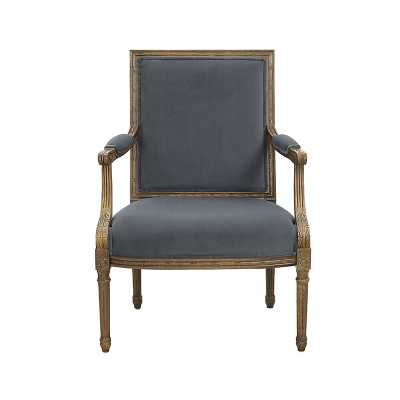 Limited Edition Square Back Bergere Chair Velvet Taupe with Distressed Gray over White  - Ballard Designs - Ballard Designs
