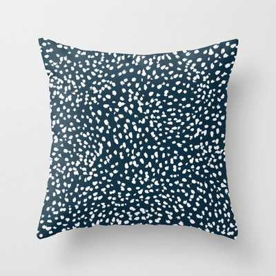 "Navy Dots Abstract Minimal Print Design Pattern Brushstrokes Painterly Painting Love Boho Urban Chic Couch Throw Pillow by Charlottewinter - Cover (20"" x 20"") with pillow insert - Indoor Pillow - Society6"
