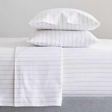 Washed Cotton Melange Simple Stripe Sheet Set , Queen, Heather Gray - West Elm