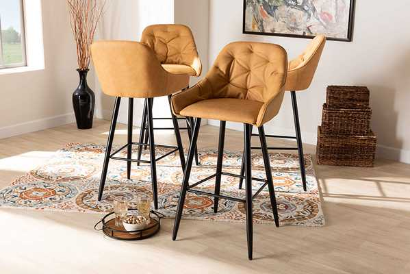 Baxton Studio Catherine Modern and Contemporary Tan Faux Leather Upholstered and Black Metal 4-Piece Bar Stool Set - Lark Interiors